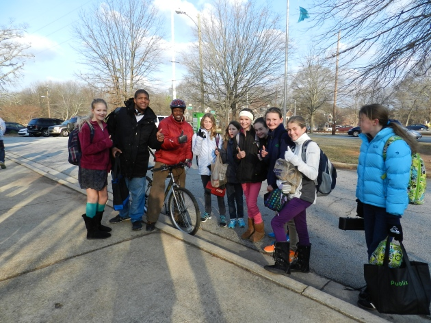 Mr. Thomas, Principal of  Renfroe Middle School, rode his bicycle to school for GA Walk & Roll Day!