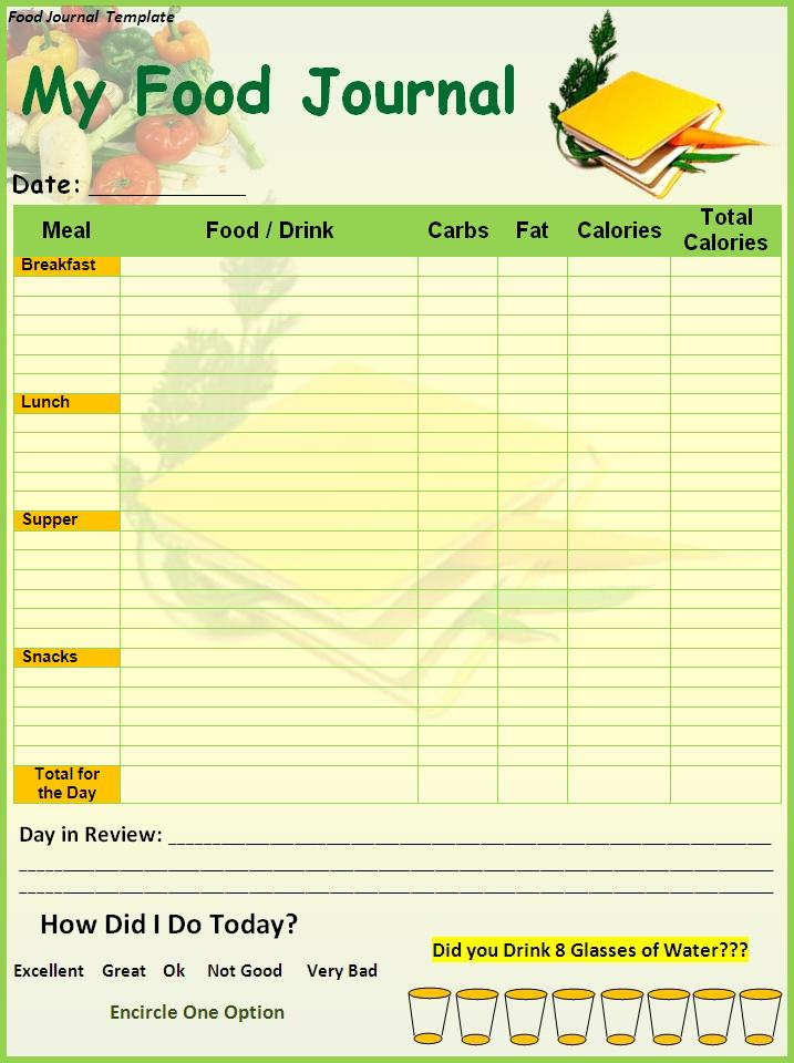 free daily food log template