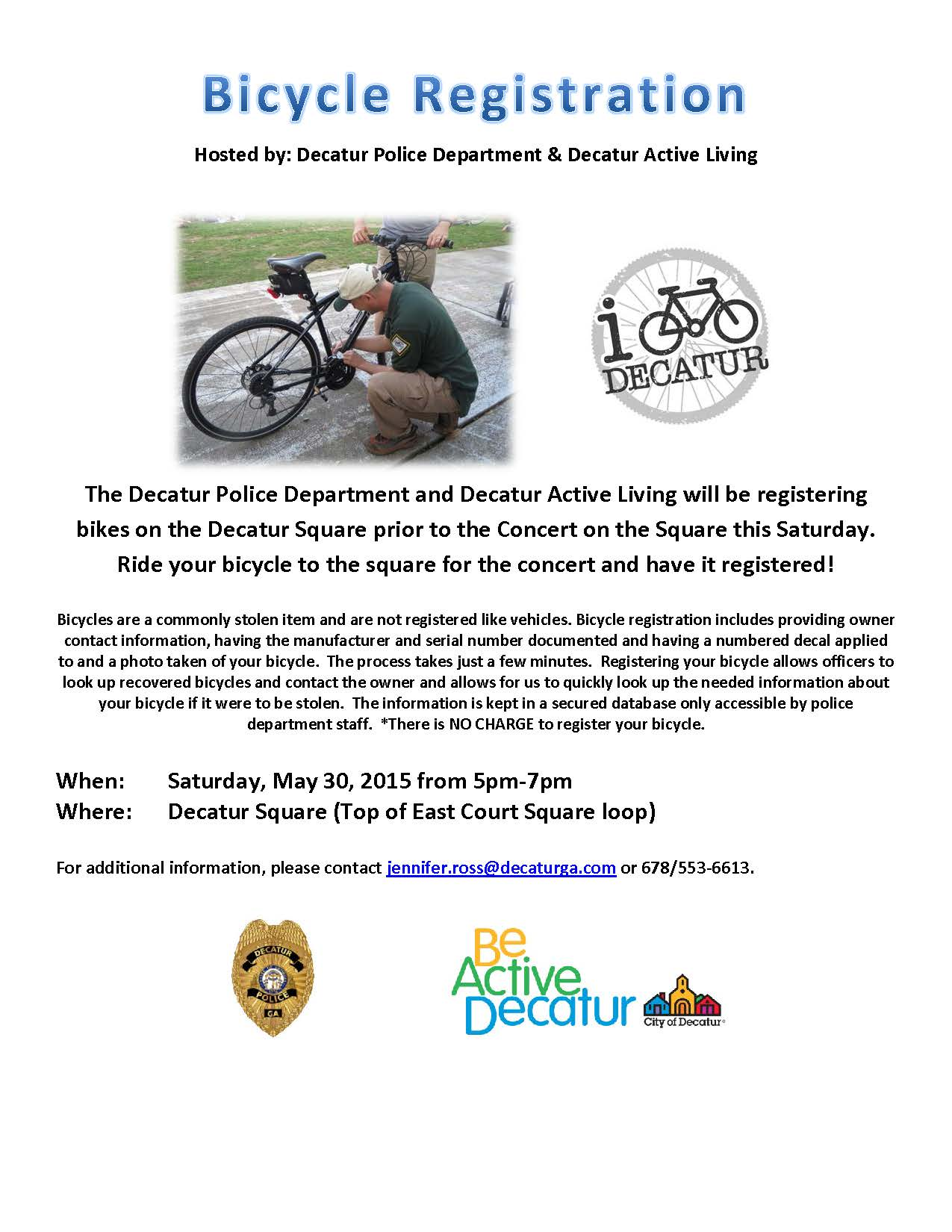 Bicycle Registration Be Active Decatur