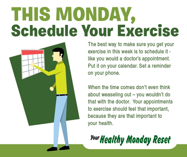 schedule your exzercise