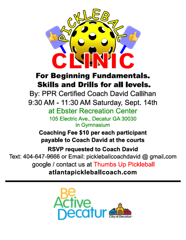 Pickleball Skills Clinic Sept.